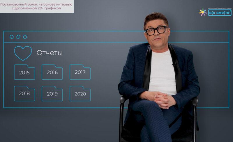 Постановочный ролик на основе интервью с дополненной 2D- графикой.
